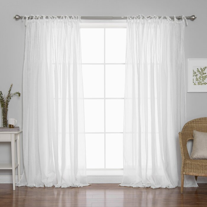 Poivrée Solid Wood Sheer Pinch Pleat Single Curtain Panel Inside Double Pinch Pleat Top Curtain Panel Pairs (#41 of 50)