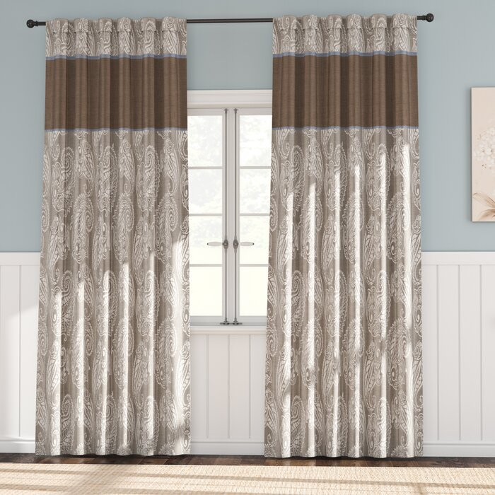 Pokanoket Paisley Room Darkening Rod Pocket Curtain In Julia Striped Room Darkening Window Curtain Panel Pairs (#30 of 37)
