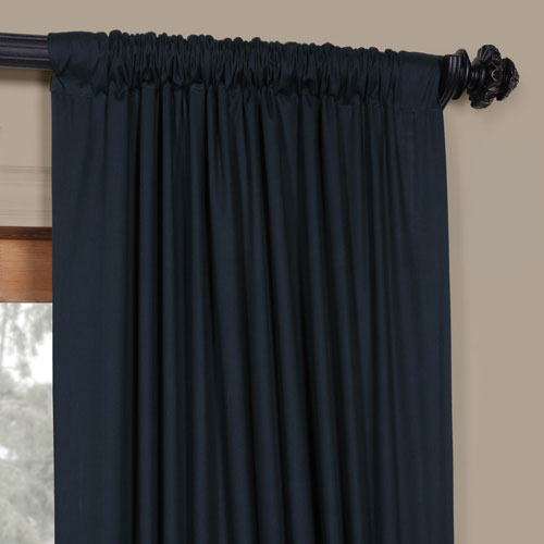 Polo Navy 50 X 96 Inch Solid Cotton Blackout Curtain In Solid Cotton True Blackout Curtain Panels (#39 of 50)