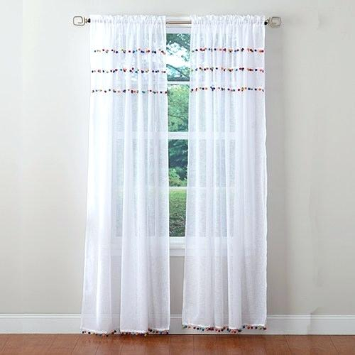 Pom Pom Curtain Panels – Friendsofaravind Throughout Tassels Applique Sheer Rod Pocket Top Curtain Panel Pairs (View 25 of 45)