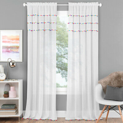 Pom Pom Sheer Rod Pocket Panel With Multi Colored Pom Pom's Inside Tassels Applique Sheer Rod Pocket Top Curtain Panel Pairs (View 26 of 45)
