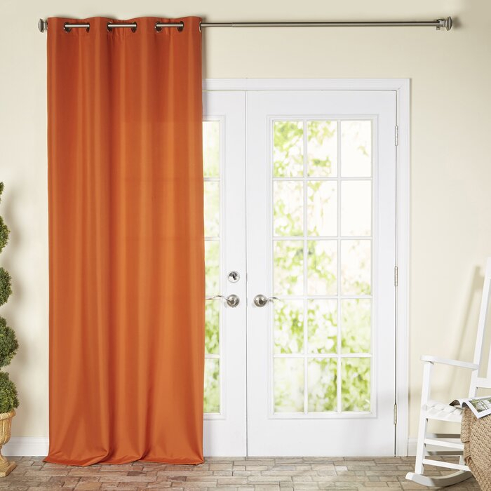 Ponce De Leon Solid Color Room Darkening Outdoor Grommet Single Curtain  Panel In Kaylee Solid Crushed Sheer Window Curtain Pairs (#27 of 40)
