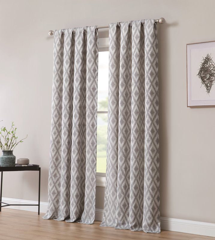 Pottorff Jacquard Window With Ikat Room Darkening Rod Pocket Throughout Sunsmart Dahlia Paisley Printed Total Blackout Single Window Curtain Panels (#19 of 45)
