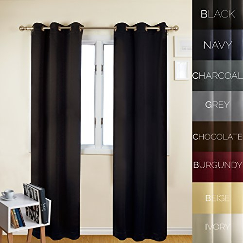 Prestige Home Fashion Thermal Insulated Blackout Curtain Intended For Antique Silver Grommet Top Thermal Insulated Blackout Curtain Panel Pairs (View 29 of 40)