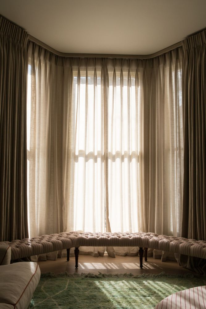 Prêt À Vivre | Herringbone Linen For A Natural Notting Hill Home In Montpellier Striped Linen Sheer Curtains (#35 of 50)