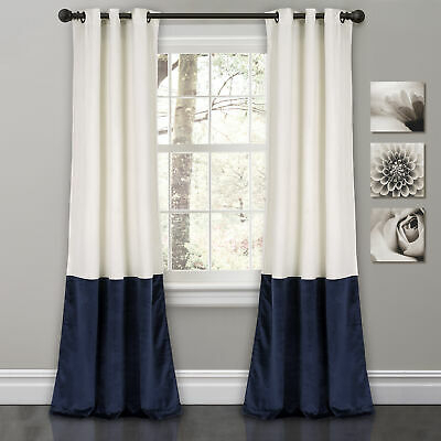 "Prima Velvet Color Block Room Darkening Window Curtain Panel Pair, 84"" X  38"" | Ebay Pertaining To Mid Century Geo Room Darkening Window Curtain Panel Pairs (#40 of 43)"