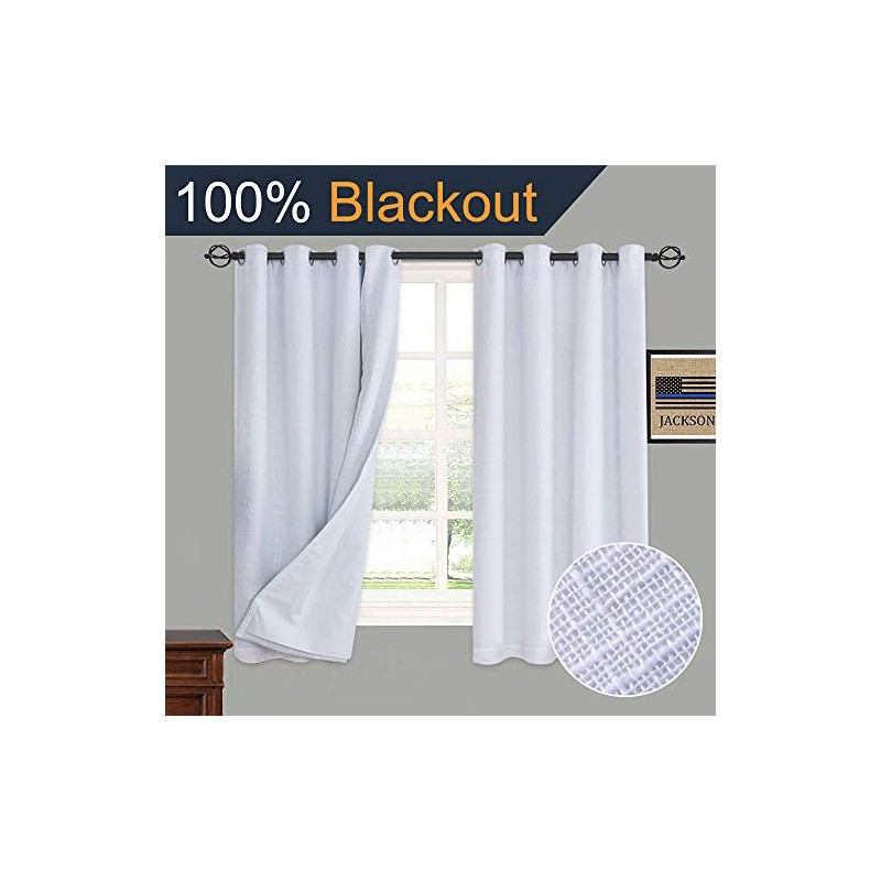 Primitive Linen Look,100% Blackout Curtain(With Liner),white With Regard To Heavy Faux Linen Single Curtain Panels (View 29 of 32)