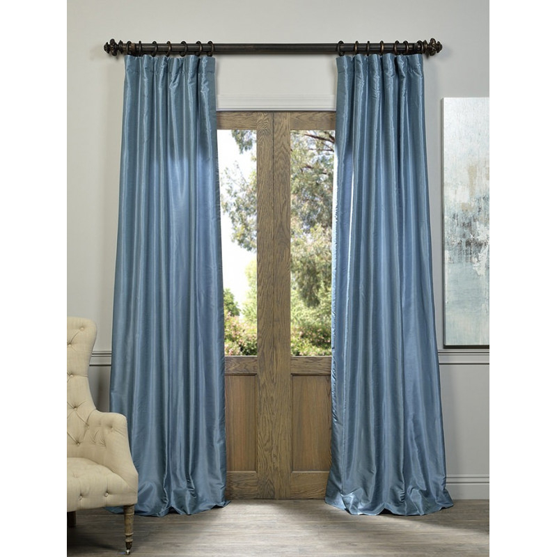 Provencial Blue Vintage Textured Faux Dupioni Silk Curtain –  Curtain Drapery With Ice White Vintage Faux Textured Silk Curtain Panels (View 35 of 50)