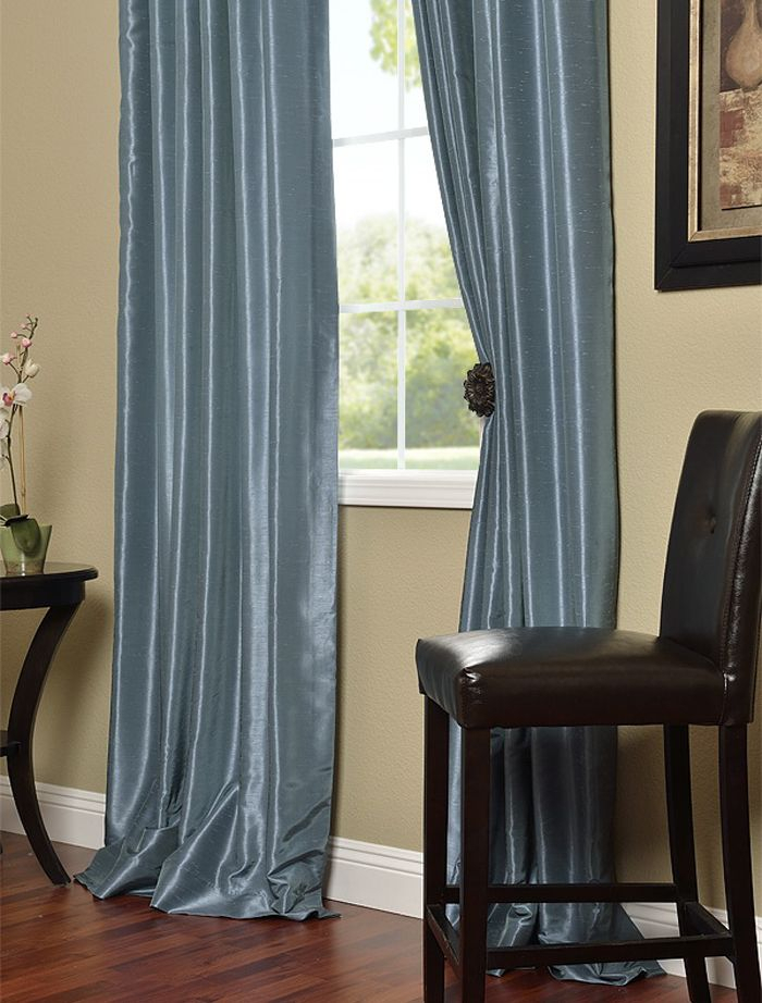Provencial Blue Vintage Textured Faux Dupioni Silk Curtains Regarding Vintage Textured Faux Dupioni Silk Curtain Panels (#45 of 50)