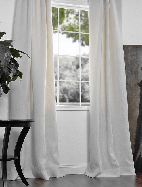 Pure White French Linen Drapes & Curtains | Living Room In French Linen Lined Curtain Panels (View 44 of 50)