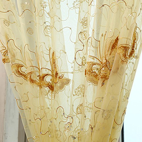 Pureaqu Beautiful Embroidered Sequins Butterfly Sheer Curtains For Kids Nursery Girls Room Rod Pocket Top Voile Window Treatment Panels For French Inside Kida Embroidered Sheer Curtain Panels (View 21 of 50)