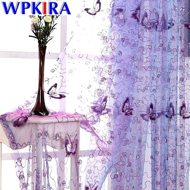 Purple Curtains Modern Fabric Rustic Butterfly Embroidered Inside Ombre Embroidery Curtain Panels (View 34 of 50)