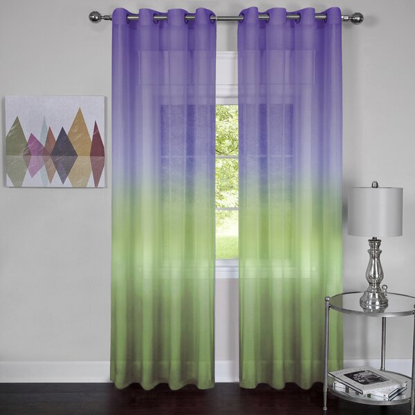 Purple Ombre Curtains | Wayfair Inside Ombre Stripe Yarn Dyed Cotton Window Curtain Panel Pairs (View 4 of 31)