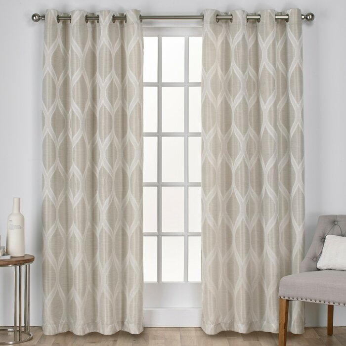 Inspiration about Quinton Geometric Semi Sheer Grommet Curtain Panels Within Geometric Linen Room Darkening Window Curtains (#16 of 50)