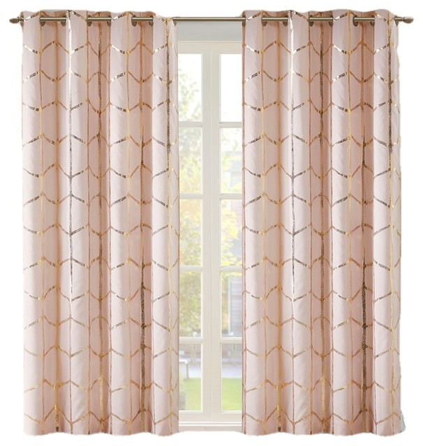 Popular Photo of Total Blackout Metallic Print Grommet Top Curtain Panels