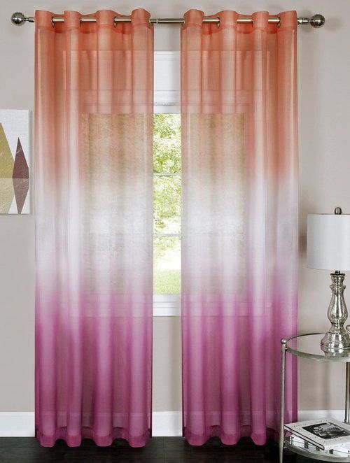 Inspiration about Rainbow Ombre Printed Grommet Sheer Curtain Panel (Light Inside Ombre Faux Linen Semi Sheer Curtains (#7 of 50)