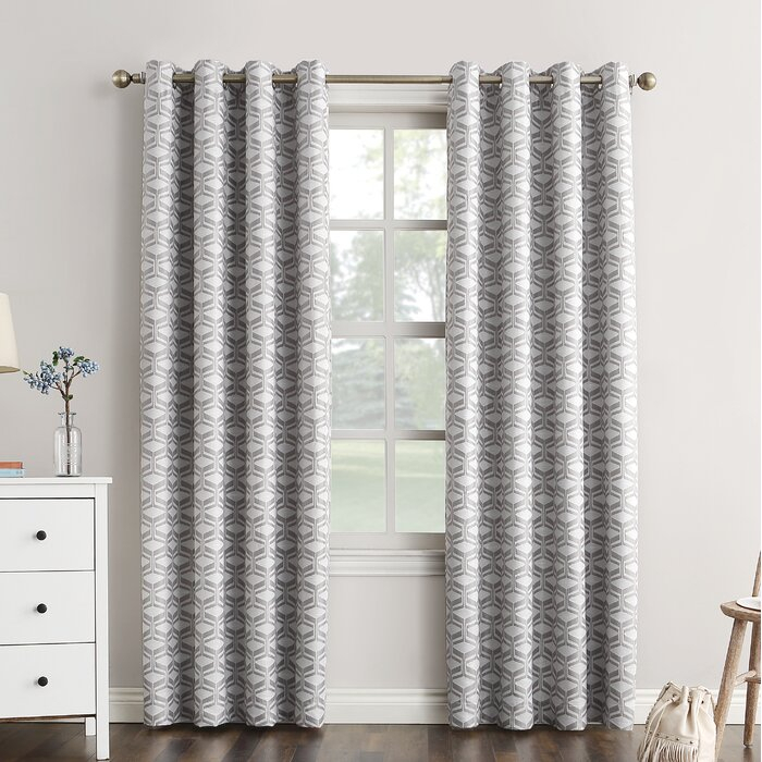 Raleigh Geometric Max Blackout Thermal Grommet Single Curtain Panel In Duran Thermal Insulated Blackout Grommet Curtain Panels (#17 of 29)
