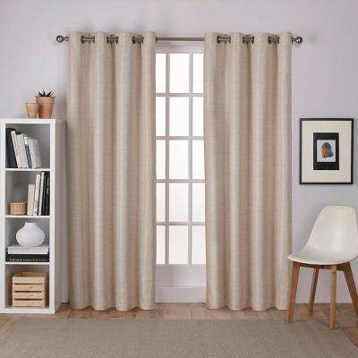 Inspiration about Raw Silk 54 In. W X 96 In. L Woven Blackout Grommet Top Curtain Panel In  Taupe (2 Panels) Intended For Woven Blackout Grommet Top Curtain Panel Pairs (#21 of 23)