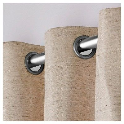 Raw Silk Insulated Thermal Grommet Top Window Curtain Panel Regarding Raw Silk Thermal Insulated Grommet Top Curtain Panel Pairs (#34 of 46)