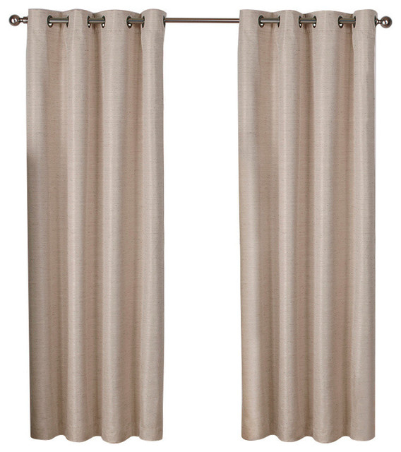 Inspiration about Raw Silk Thermal Grommet Top 96 Inch Curtain Panel, Set Of 2, Taupe Throughout Tuscan Thermal Backed Blackout Curtain Panel Pairs (#45 of 46)
