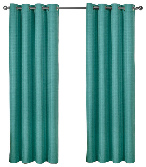 Raw Silk Thermal Room Darkening Window Curtain Panel Pair, 52X108, Teal With Regard To Raw Silk Thermal Insulated Grommet Top Curtain Panel Pairs (#37 of 46)