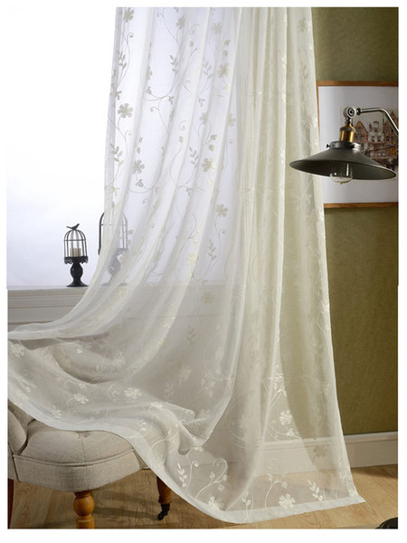 Ready Made White Cotton Embroidered Sheer Curtains For Living Room Voile  Tulle Curtain Kids Hometextile Fabric Plaid Curtains Cheap Curtains Online Regarding Kida Embroidered Sheer Curtain Panels (#31 of 50)