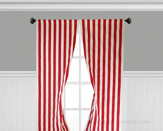 Red And White Striped Curtains Window Treatments Red Canopy Curtain Panels  Custom Drapes Kitchen Kids Room Drapery Panels Valance Within Ocean Striped Window Curtain Panel Pairs With Grommet Top (#24 of 41)
