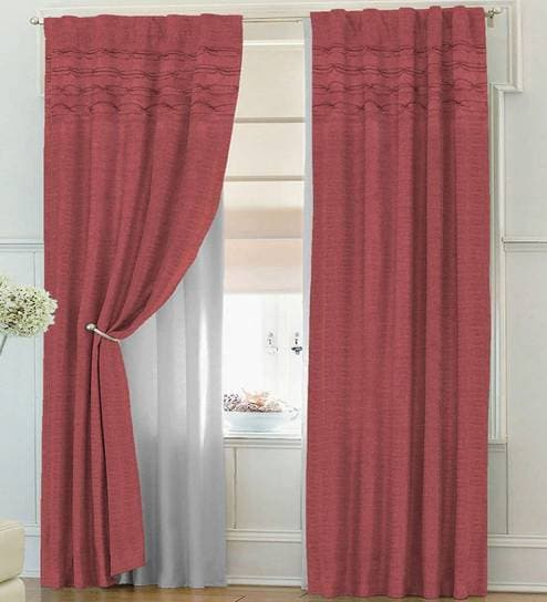 Red Cotton Solid Colour Door Curtainsolaj Pertaining To Solid Cotton Pleated Curtains (#39 of 50)