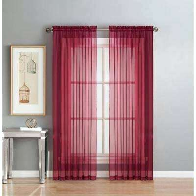 Red Sheer Panel Curtains – Bhj With Regard To Wavy Leaves Embroidered Sheer Extra Wide Grommet Curtain Panels (#30 of 50)