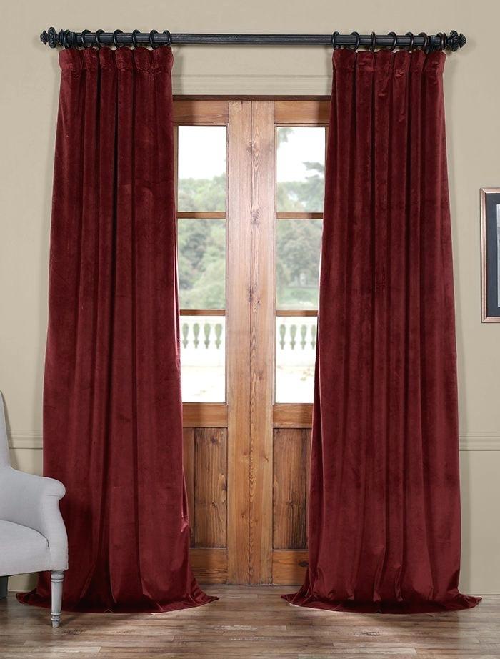 Inspiration about Red Velvet Drapes – Fbpoll Intended For Heritage Plush Velvet Single Curtain Panels (#29 of 50)
