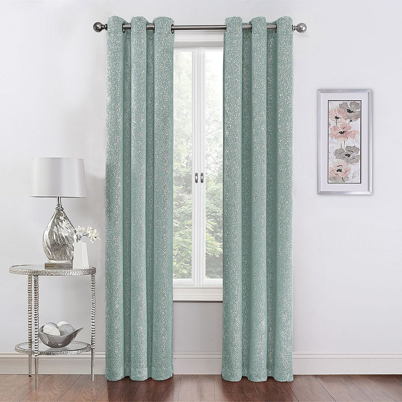 Inspiration about Regal Home Collections Metallic Room Darkening Grommet Top Within Elrene Mia Jacquard Blackout Curtain Panels (#16 of 37)