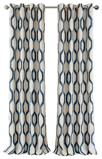 "Renzo Blackout Grommet Linen Window Curtain, Indigo, 52"" X 84"" Throughout Edward Moroccan Pattern Room Darkening Curtain Panel Pairs (View 33 of 50)"