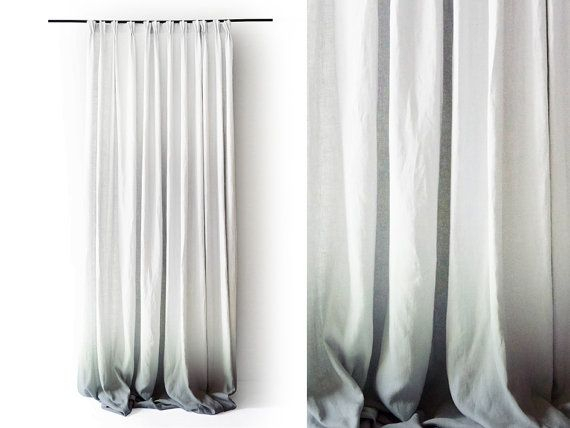 Reserved Ombre White Linen Curtain Panels (View 6 of 31)