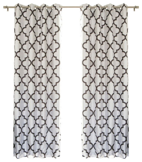 Reverse Moroccan Blackout Single Curtain Panel, Dark Gray For Edward Moroccan Pattern Room Darkening Curtain Panel Pairs (View 34 of 50)