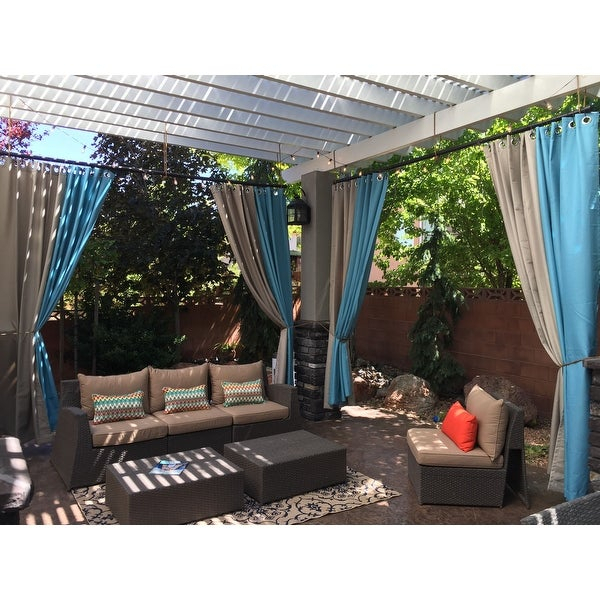 Inspiration about Reviews (887) Ati Home Indoor/outdoor Solid Cabana Grommet Intended For Indoor/outdoor Solid Cabana Grommet Top Curtain Panel Pairs (#48 of 48)