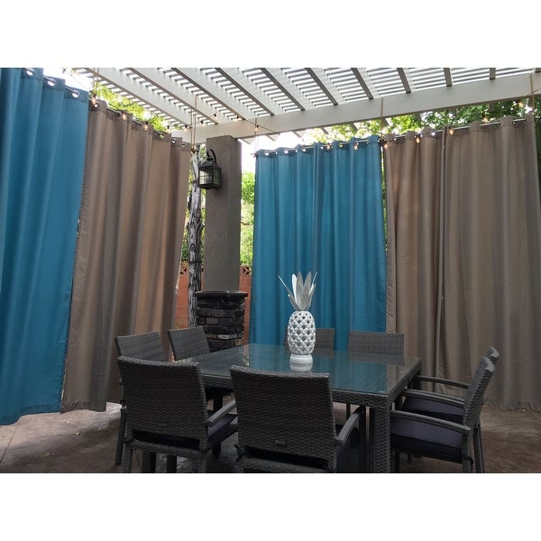 Inspiration about Reviews (887) Ati Home Indoor/outdoor Solid Cabana Grommet With Indoor/outdoor Solid Cabana Grommet Top Curtain Panel Pairs (#12 of 48)