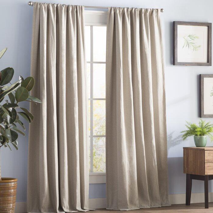 Reyna Solid Room Darkening Thermal Rod Pocket Single Curtain Panel With Hayden Rod Pocket Blackout Panels (#31 of 43)