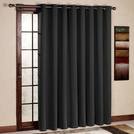 Rhf Wide Thermal Blackout Patio Door Curtain Panel, Sliding Door Insulated  Curtains Antique Bronze Grommet Top 100W84L Inche – Rose Home Fashion Inside Antique Silver Grommet Top Thermal Insulated Blackout Curtain Panel Pairs (View 31 of 40)