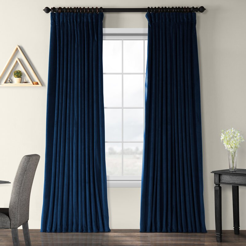 Rhinehart Solid Max Blackout Thermal Tab Top Single Curtain Panel With Heritage Plush Velvet Single Curtain Panels (View 39 of 50)
