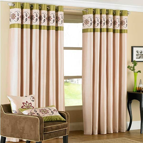 Riva Home Petra Floral Embroidered Faux Silk Eyelet Curtains Throughout Ofloral Embroidered Faux Silk Window Curtain Panels (View 27 of 50)