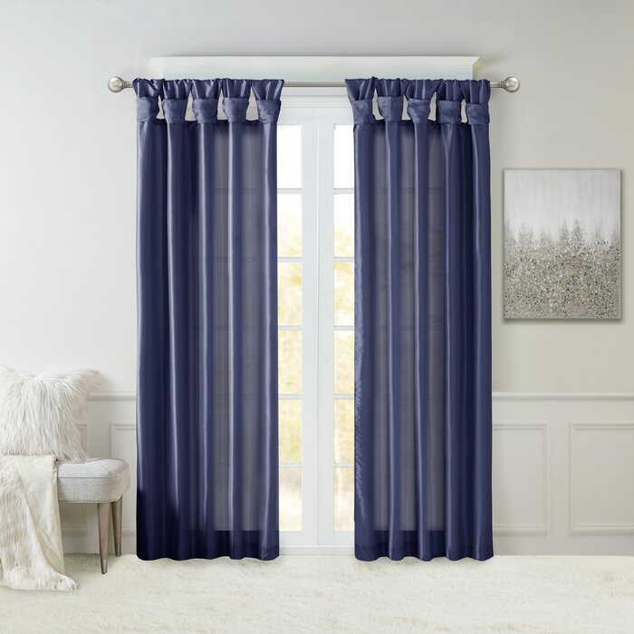 Rivau Solid Tab Top Single Curtain Panel In Tassels Applique Sheer Rod Pocket Top Curtain Panel Pairs (View 27 of 45)