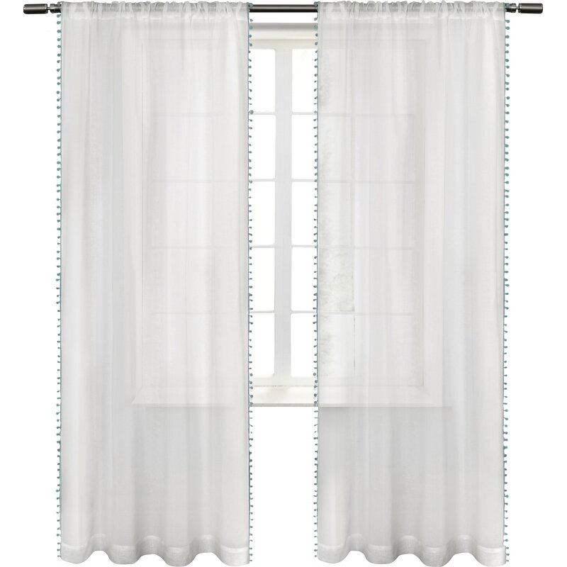 Rockport Solid Sheer Rod Pocket Curtain Panels Intended For Tassels Applique Sheer Rod Pocket Top Curtain Panel Pairs (View 29 of 45)