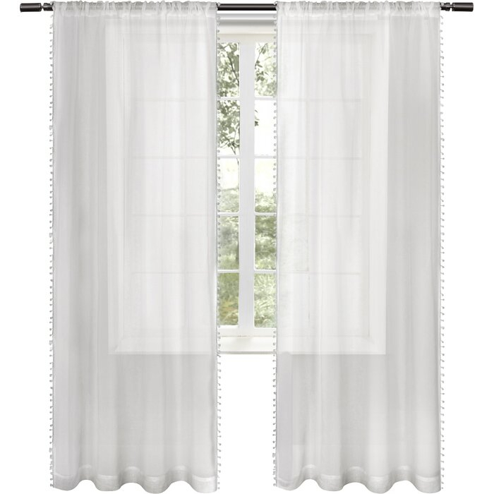 Rockport Solid Sheer Rod Pocket Curtain Panels Pertaining To Tassels Applique Sheer Rod Pocket Top Curtain Panel Pairs (View 30 of 45)