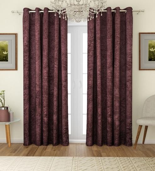 Inspiration about Romee Solid Eyelet Velvet Blackout Curtains For Door 7 Feet, Set Of 2 –  Brown Regarding Velvet Solid Room Darkening Window Curtain Panel Sets (#45 of 47)