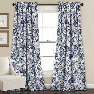 "Inspiration about Room Darkening Blue Floral Window Panel Curtain Set (Pair), 84"" L New 