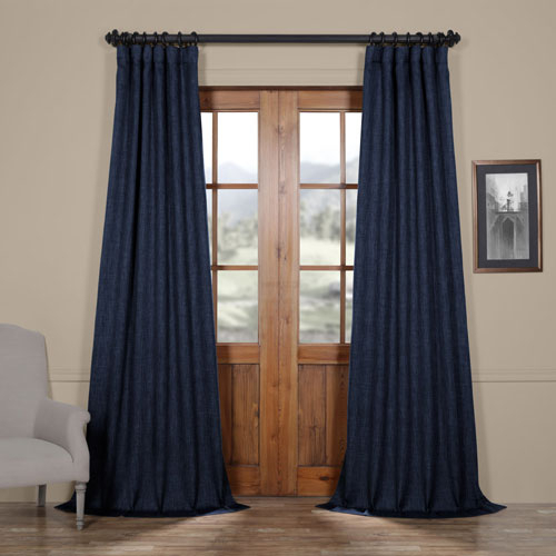 Inspiration about Rose Street Blue Indigo 108 X 50 In.faux Linen Blackout Curtain Single Panel Pertaining To Faux Linen Blackout Curtains (#43 of 50)