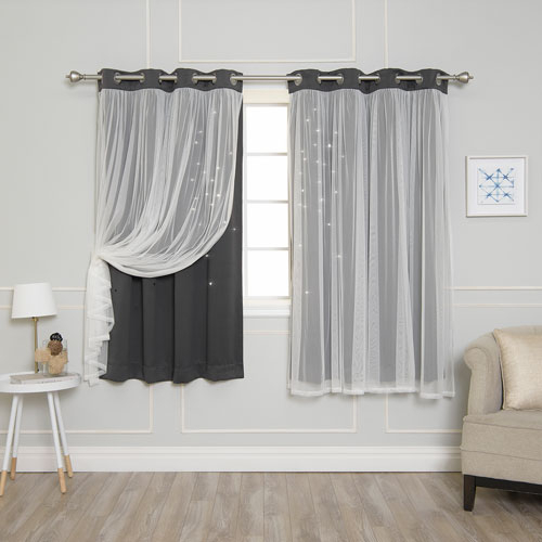 Inspiration about Rose Street Dark Grey Tulle Overlay Star Cut Out 63 X 52 In. Blackout  Curtains Within Star Punch Tulle Overlay Blackout Curtain Panel Pairs (#5 of 50)