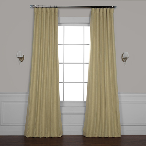 Inspiration about Rose Street Millet Yellow 84 X 50 In. Faux Linen Blackout Curtain Single  Panel Inside Faux Linen Blackout Curtains (#6 of 50)