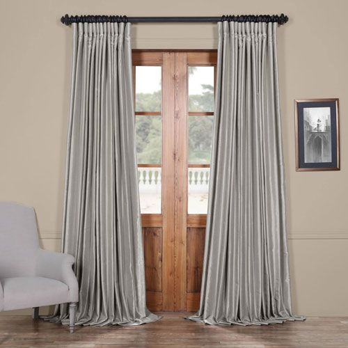 Inspiration about Rose Street Silver 108 X 100 In. Blackout Double Wide Regarding Storm Grey Vintage Faux Textured Dupioni Single Silk Curtain Panels (#17 of 50)