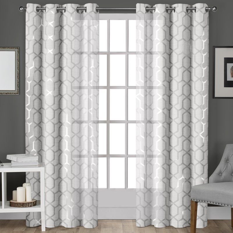 Inspiration about Roshan Geometric Sheer Grommet Curtains | Drapes Curtains In Vina Sheer Bird Single Curtain Panels (#10 of 38)